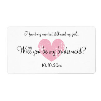 Will you be my bridesmaid wine bottle labels