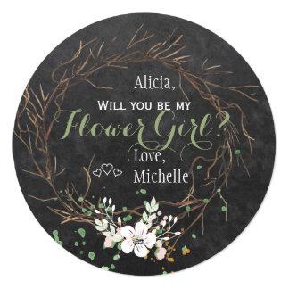 Will you be my bridesmaid winter modern chalkboard card