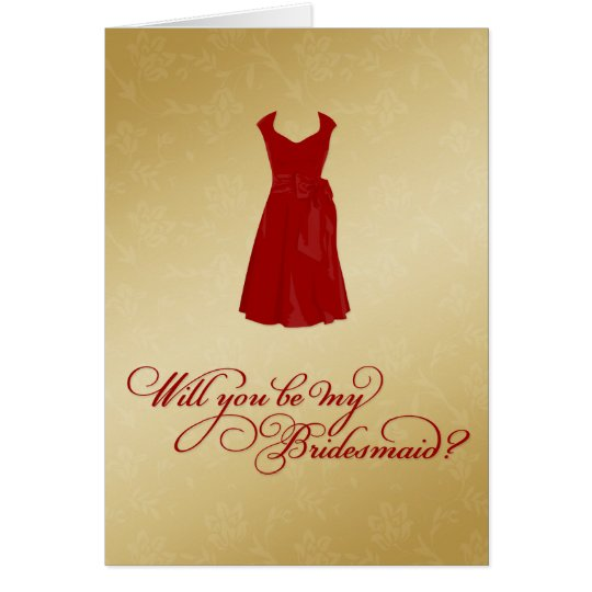 """""""Will you be my Bridesmaid?"""" YOUR Color & Gold Card"""