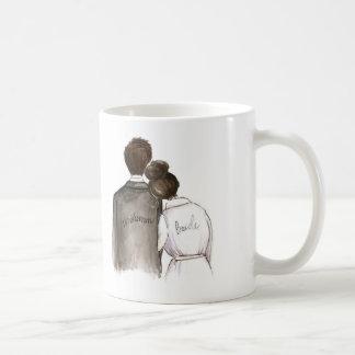 Will you be my Bridesman? Dark Hair Man and Bride Coffee Mug