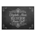 "Will You Be My Flower Gir? Ornate Chalkboard Cards 5"" X 7"" Invitation Card"