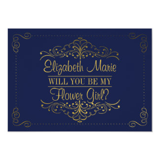 Will You Be My Flower Gir? Ornate Navy & Gold Card