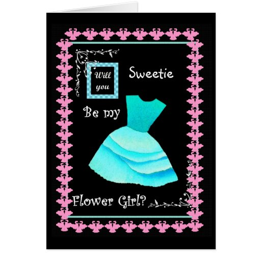 Will You Be My Flower Girl?  AQUA Dress and Swans Greeting Card