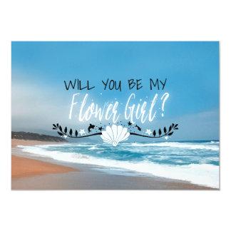 Will You Be My Flower Girl   Beach Flower Girl Card