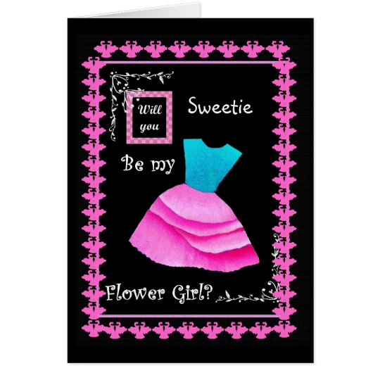 Will You Be My Flower Girl? BLUE & PINK Dress Card