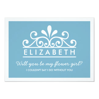Will You Be My Flower Girl? Blue Tiara Card
