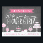 """Will You Be My Flower Girl   Bridesmaid Card<br><div class=""""desc"""">Propose to your bridal party with this card featuring a sweet,  candy theme. &quot;My wedding day would not be as sweet without you.&quot; Personalize the front and back with your own text.</div>"""