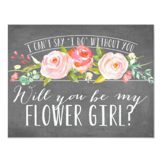 Will You Be My Flower Girl   Bridesmaid 4.25x5.5 Paper Invitation Card