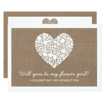 Valentines Themed Will You Be My Flower Girl? Burlap Heart Card