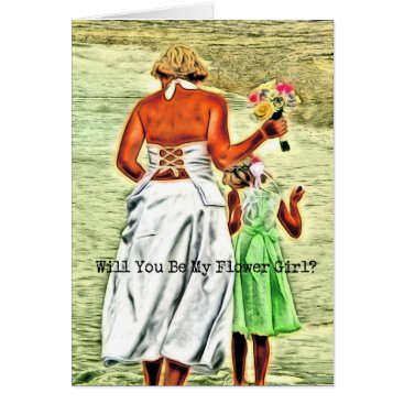 Beach Themed Will You Be My Flower Girl? Card