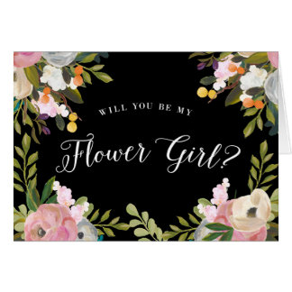 Will You Be My Flower Girl Card Black Floral