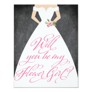 Will You Be My Flower Girl Chalkboard Dress 4.25x5.5 Paper Invitation Card