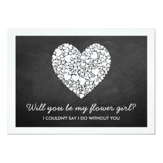 Will You Be My Flower Girl? Chalkboard Heart Card