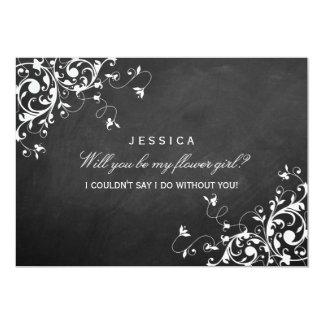 Will You Be My Flower Girl? Chic Chalkboard Swirls Card