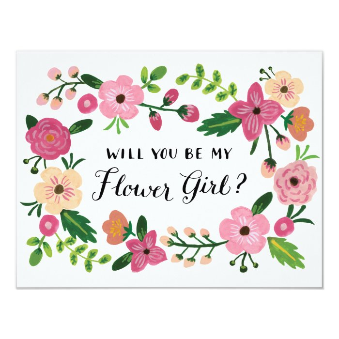 Will You Be My Flower Girl Floral Card Zazzle