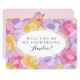 """""""Will You Be My Flower Girl?"""" Floral Invitation"""