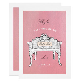 Will You Be My Flower Girl Garden Bench Pink Card
