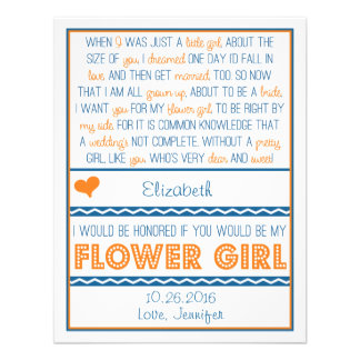 Will you be my Flower Girl? Navy Blue/Orange Poem Announcement