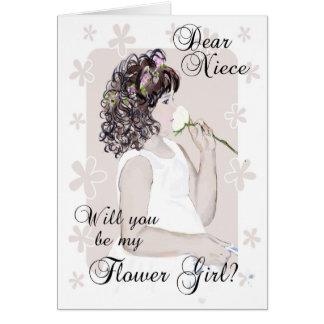 Will you be my Flower Girl-Niece?-Little Girl Art Card