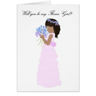 Will you be my Flower Girl Pink and Blue Greeting Card