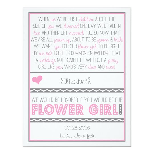 Will You Be My Flower Girl Pink Gray Poem Card Zazzle Com
