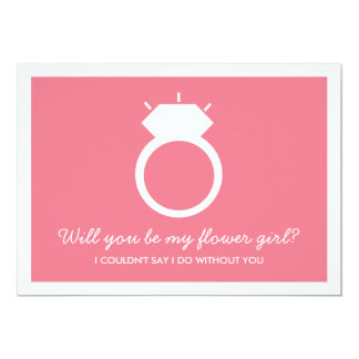 Will You Be My Flower Girl? Pink Ring Card