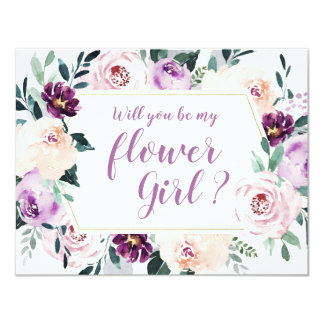 Will you be my flower girl purple Botanical floral Invitation