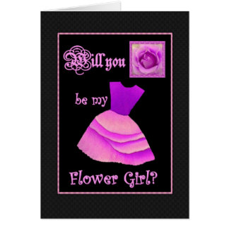 Will You Be My Flower Girl? Purple Dress and Rose Greeting Cards