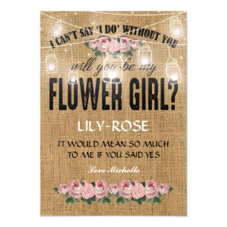 Will you be my Flower Girl? | Rustic Burlap Card