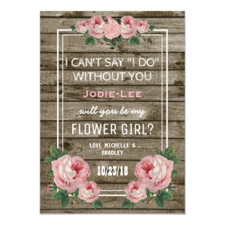 Will you be my Flower Girl | Rustic Vintage Invitation