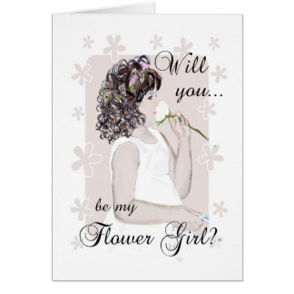 Will you be my Flower Girl?-Young Girl Art Card