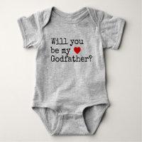 will you be my godfather baby bodysuit