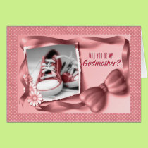 Will You Be My Godmother - Baby Girl Pink Card
