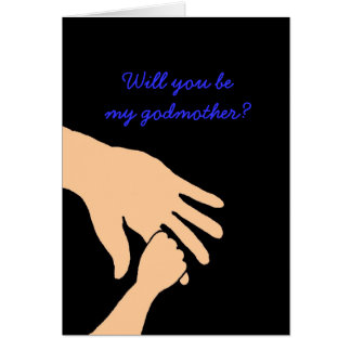 will you be my godmother card in blue