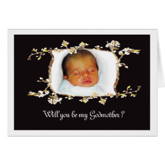 Will you be my Godmother?Custom plum blossom frame Card
