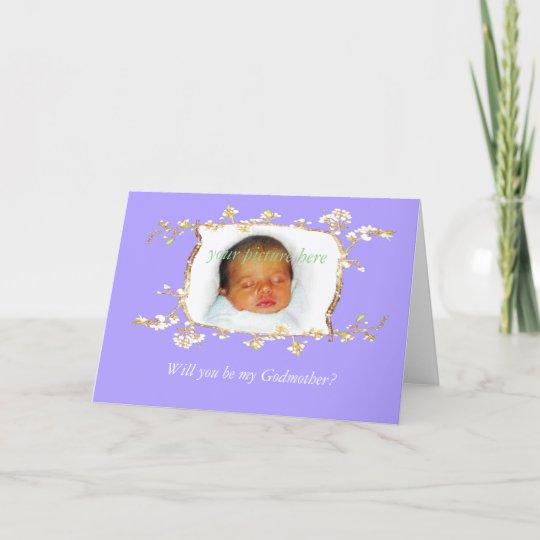 Will you be my Godmother?Custom plum blossom frame Invitation ...