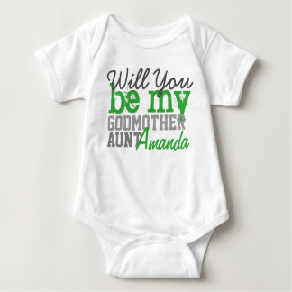 Will You Be My Godmother. (With Your Aunt Name) Baby Bodysuit