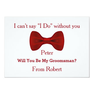 Will You Be My Groomsman Black Chalk Board Red Bow Card