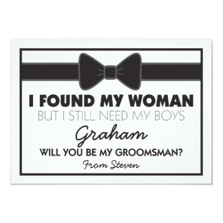 Will You Be My Groomsman Black/White Bow Tie Card