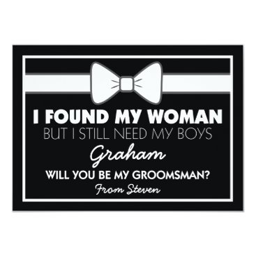 special_stationery Will You Be My Groomsman Black/White Bow Tie Card