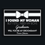 """Will You Be My Groomsman Black/White Bow Tie Invitation<br><div class=""""desc"""">Looking at asking someone to be your groomsman for your future wedding, then why not choose these cool classic black &amp; white groomsman cards. This customized invite will make your friend, brother, cousin, nephew, son or whoever else you choose feel that extra special. This invite is easily personalized by clicking...</div>"""