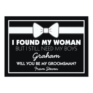 Will You Be My Groomsman Black/White Bow Tie Invitation