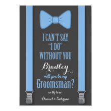 Will You Be My Groomsman - Blue Tie Braces Cards