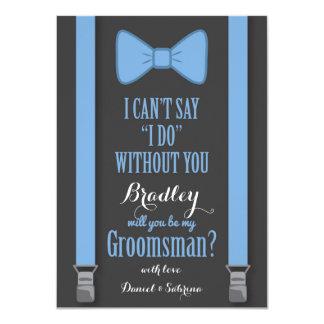 Will You Be My Groomsman - Blue Tie Braces Card
