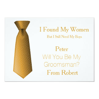 Will You Be My Groomsman Gold & White Tie Card