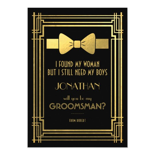 will you be my groomsman great gatsby groomsmen invitation
