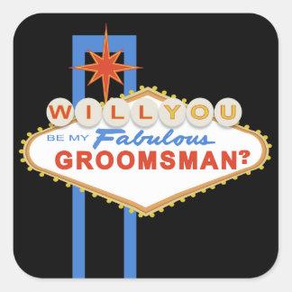 Will You Be My Groomsman Las Vegas Sign Sticker