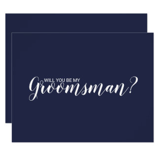 Will You Be My Groomsman? Modern Script Navy Blue Invitation