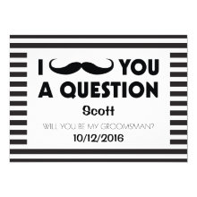 Will You Be My Groomsman Moustache Black Stripes Cards