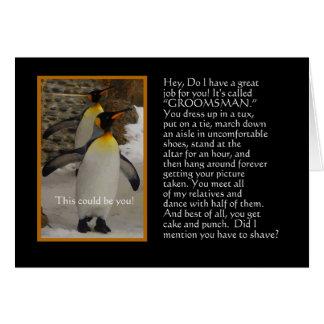 Will You Be My Groomsman? Penguin Humor Card